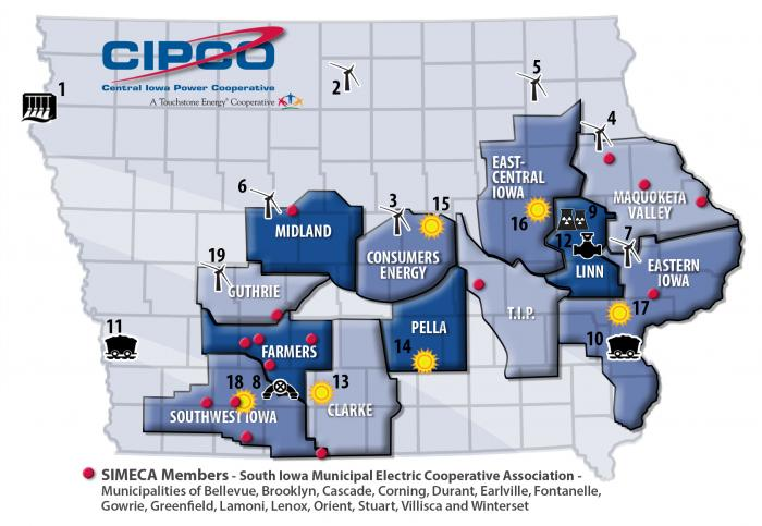 CIPCO territory and generation facilties map